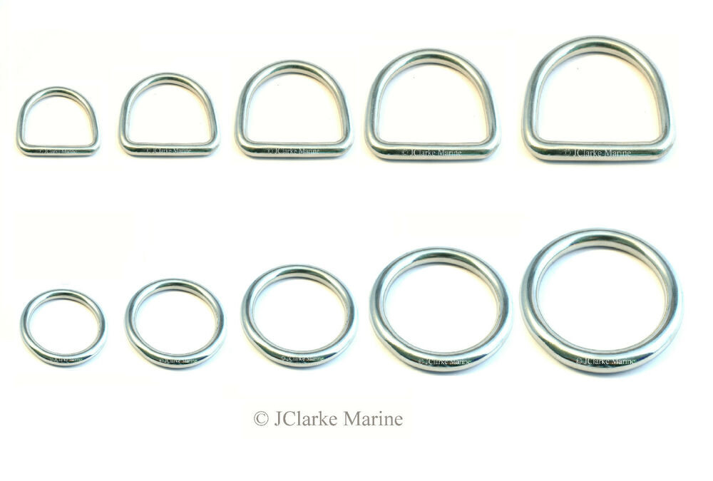 O dee d ring rings a stainless steel polished