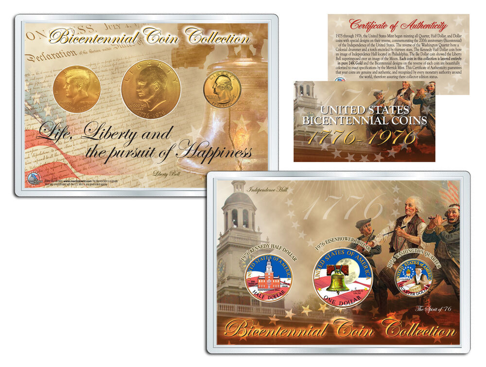 1976 Bicentennial Coin Collection Colorized Us 3 Coin Set