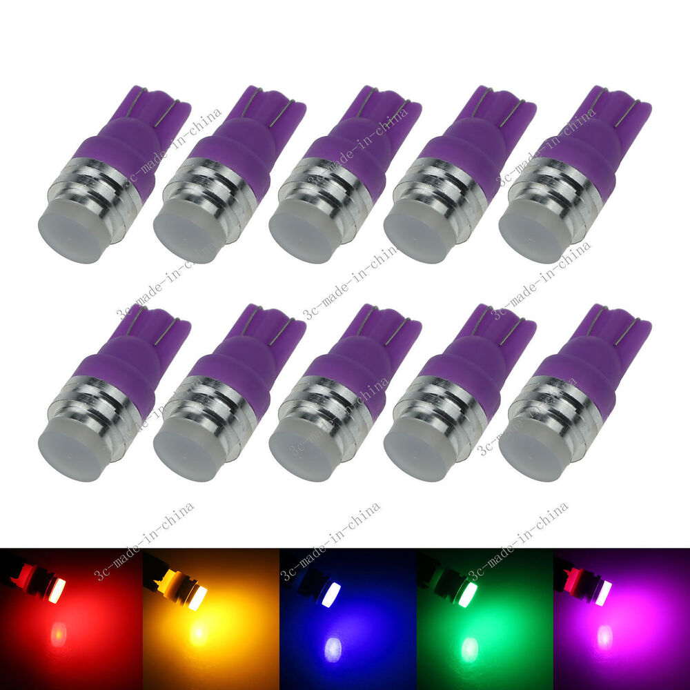 10x changing color rgb 1 led cob t10 w5w wedge side light car bulb lamp 12v a131 ebay. Black Bedroom Furniture Sets. Home Design Ideas
