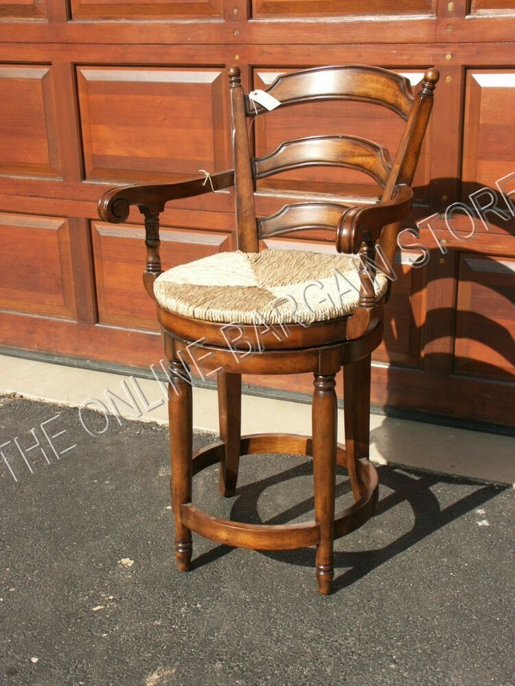 2 frontgate wood rush kitchen dining counter 24 height stool barstool bar chair ebay - Average height of bar stools ...
