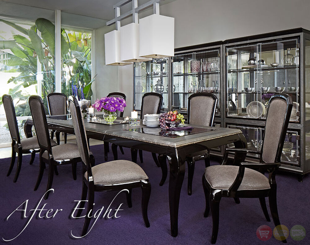 After eight black onyx 9 piece formal dining room for 9 pc dining room table sets