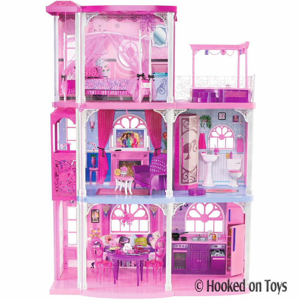 Barbie 3 story dream town house 55 pieces w furniture for Dream house days furniture