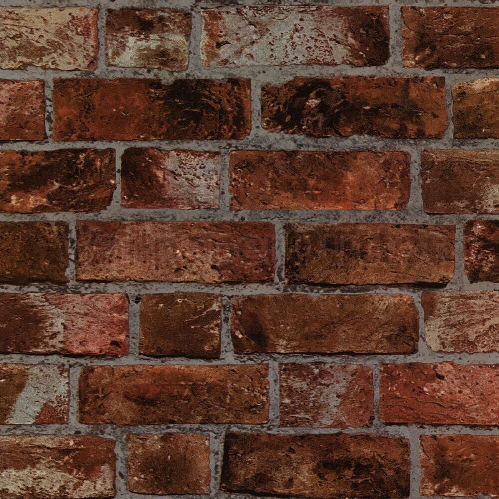Cornish Stone Effect Wallpaper From B Q: New Fine Decor Natural Rustic Brick Wallpaper Red / Brown