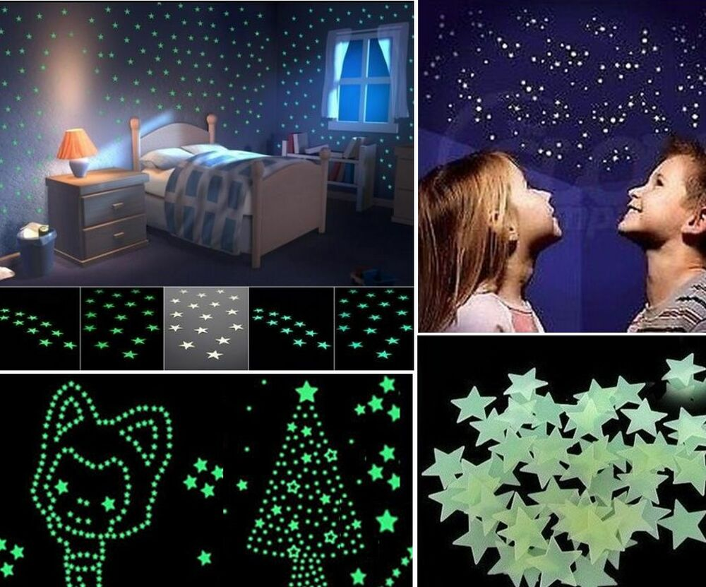 100pcs Lots Wall Sticker Home Decor Glow In The Dark Star