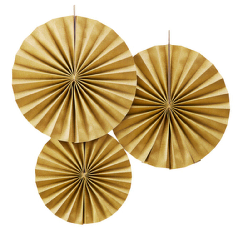 Gold circle paper fan decorations pastel perfection x 3 for Glace decoration