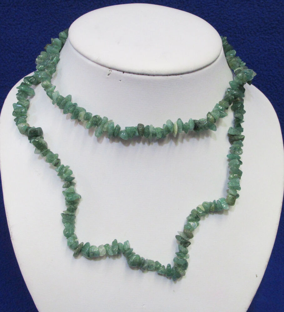 Natural Stone Jewelry : Vintage green natural stone necklace tiny stones in