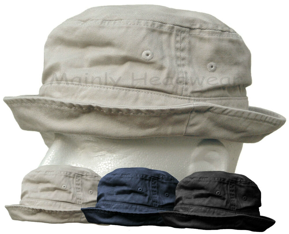 Shapeable Cotton Bucket Hat Mens Cap Fishing Sailor Navy