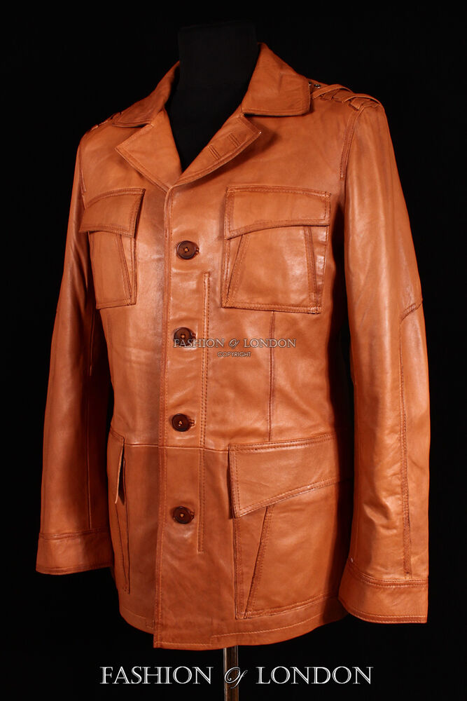 Men's SAHARA SAFARI Style TAN Wash Lambskin Genuine ...