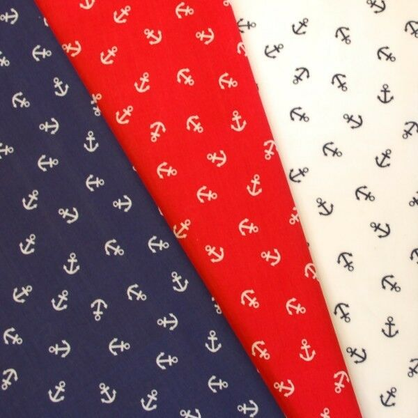 Sam The Sailor Anchors Scattered Nautical Polycotton