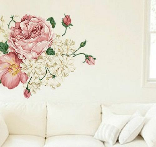 New Shabby Chic Pretty Wall Sticker Vintage Bedroom Lounge Floral Rose Ebay