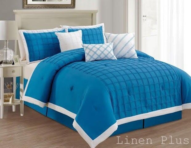 7 Piece Oversize Blue Turquoise White Embroidery Comforter ...