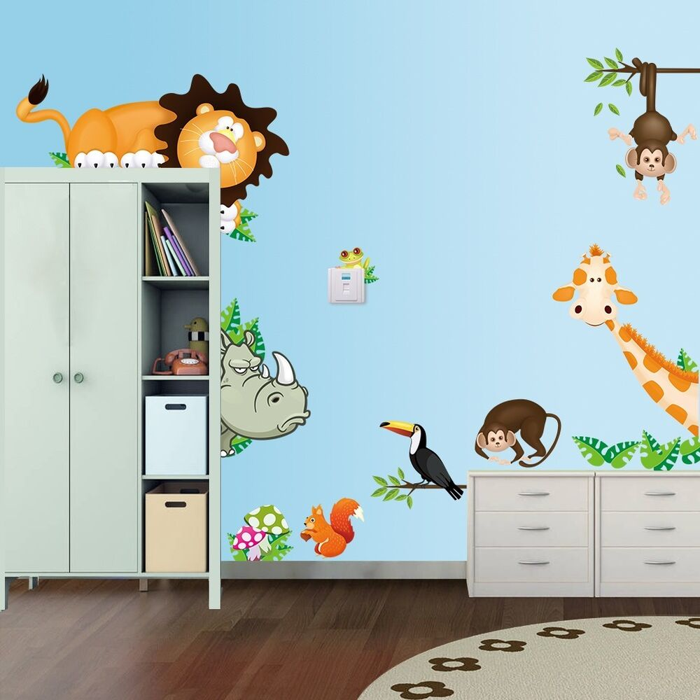 Nursery animal zoo tiger kids room pvc wall stickers home for Mural kids room