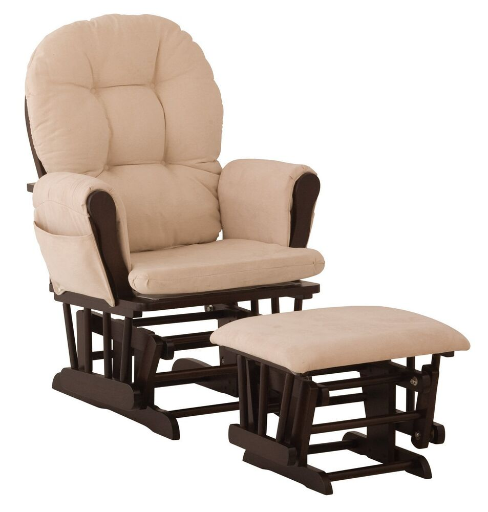 baby nursery glider rocker rocking chair espresso finish with ottoman new ebay. Black Bedroom Furniture Sets. Home Design Ideas