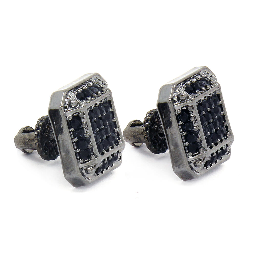 Mens Black Finished 12mm Micro Pave Square Lab Cz Screw