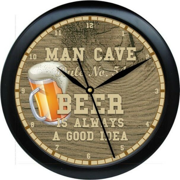 Man Cave Clock : Personalized man cave rule no wall clock beer rules