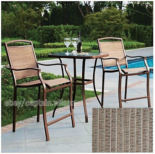 Bistro Table Bar High Chair Set 3 Pieces Outdoor Patio Furniture Deck