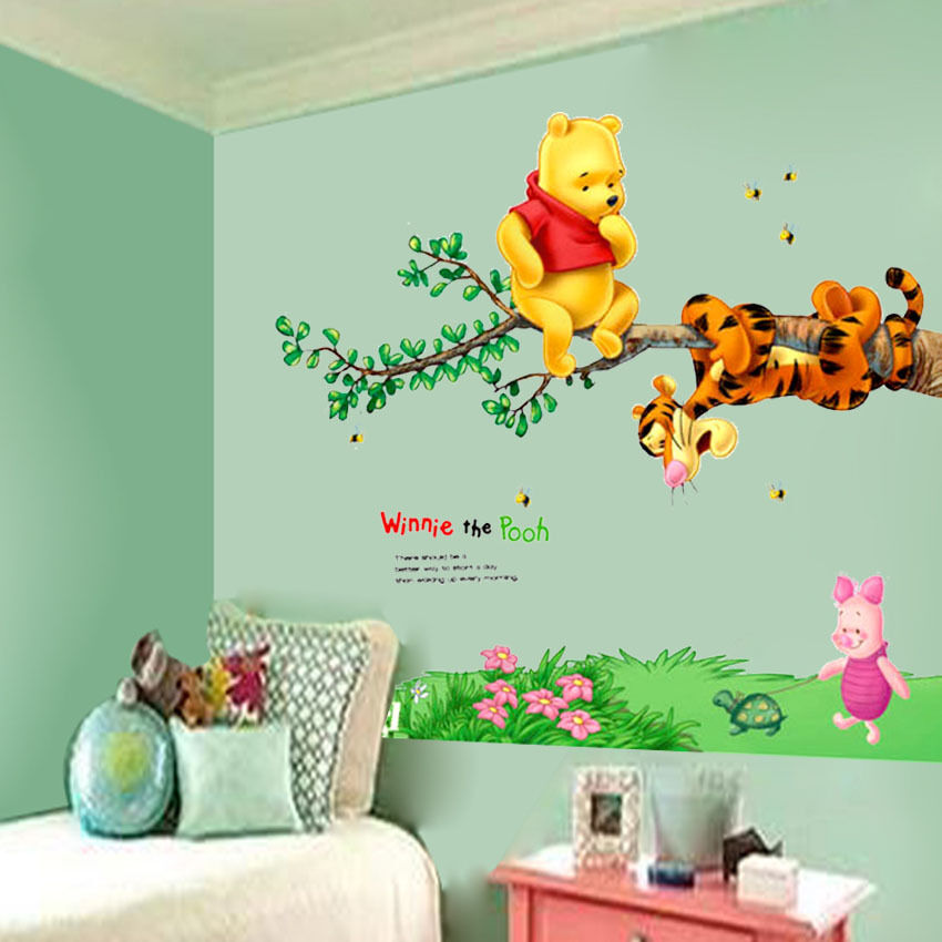 diy winnie the pooh bear vinyl mural wall decals sticker kids nursery decor lxl ebay. Black Bedroom Furniture Sets. Home Design Ideas