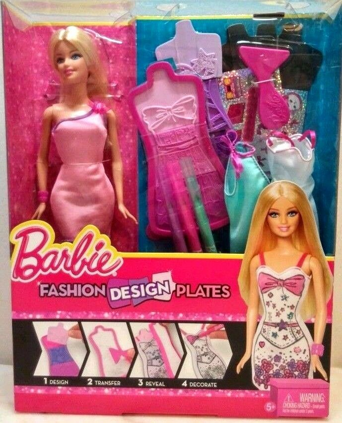 Barbie Doll Set With Clothing And Fashion Design Plates Ages 5 New In Box Ebay