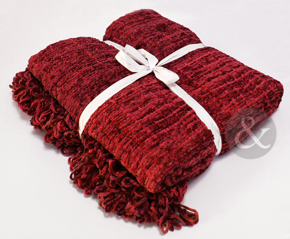 Chenille Throws Burgundy Red Extra Large Thermal Woven