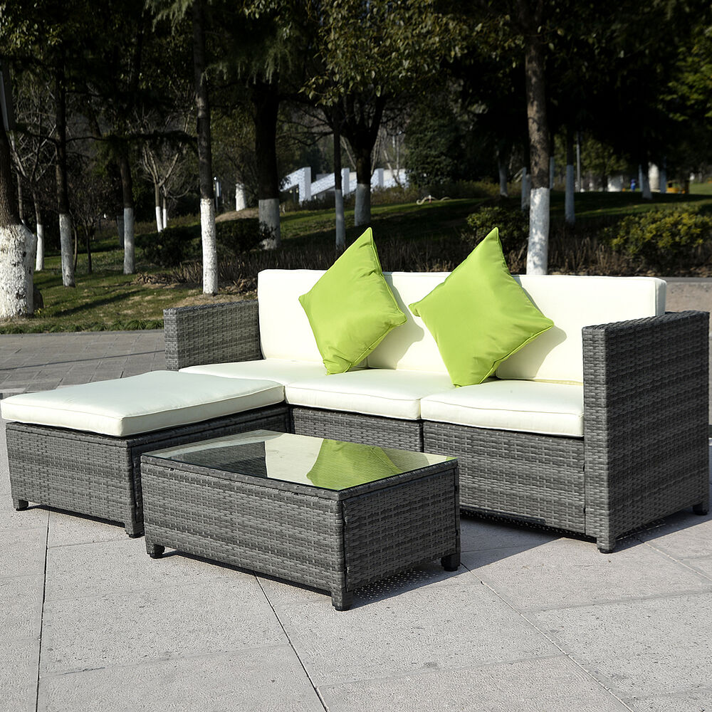 5pc patio rattan wicker sofa set cushioned furniture garden steel gradient gray ebay. Black Bedroom Furniture Sets. Home Design Ideas