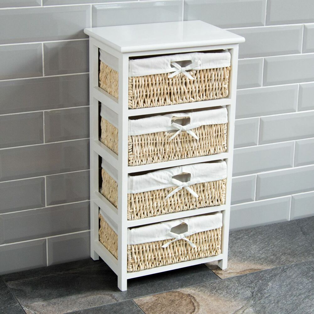 Buy Wicker Storage Basket Kitchen Drawer Style From The: 4 Drawer Wood Maize Basket Drawers White Cupboard Cabinet