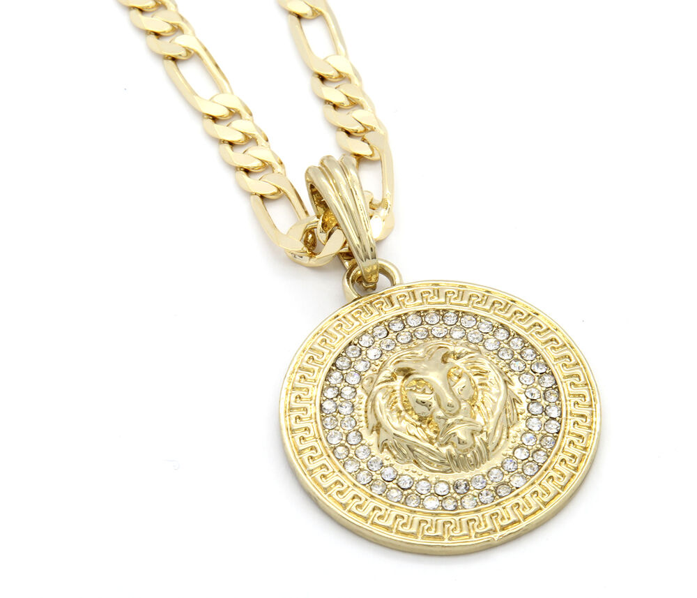 "Mens Medallion Patern Lion Gold Plated 24"" Figaro Chain ..."