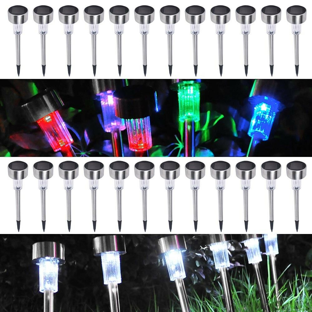 24 pack outdoor stainless steel led solar power light w white color changing ebay. Black Bedroom Furniture Sets. Home Design Ideas