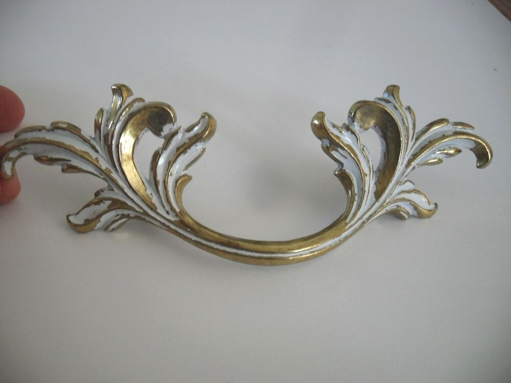 Vtg Nos White Brass Large Dresser Drawer Pulls French