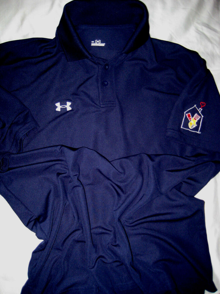 Under armour embroidered logos mcdonald patch sleeve golf for Under armour embroidered polo shirts