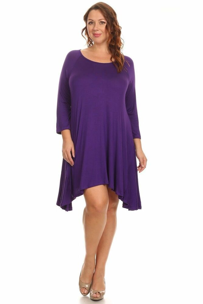 New women 39 s plus size 3 4 sleeve purple tent top sizes 1x for 3 4 sleeve t shirts plus size