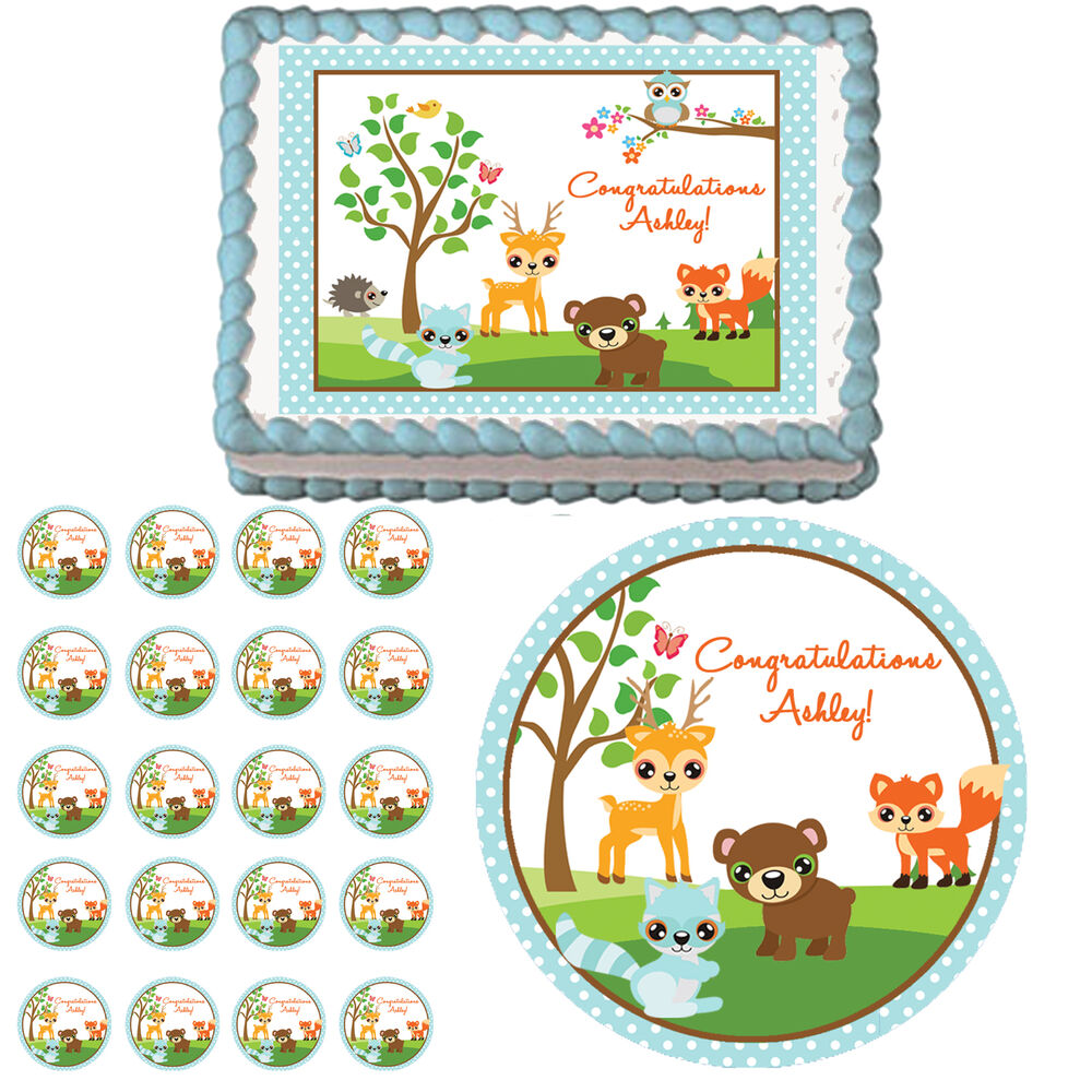 Cake Decoration Woodland Animals : Blue Woodland Forest Animals Edible 1st Birthday Baby ...