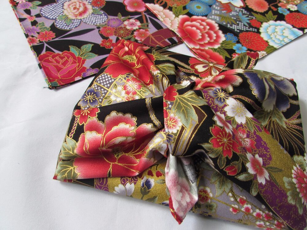 Furoshiki 7 pieces japanese wrap cloth gold lame design for Japanese wrapping