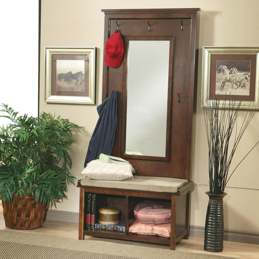 Hall tree with mirror entryway coat rack seat cushion storage bench shelf wood ebay - Furniture for front entryway ...