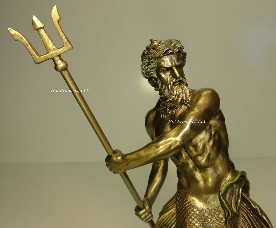 11 5 poseidon god of sea wielding trident mythology statue cold cast bronze ebay - Poseidon statue greece ...