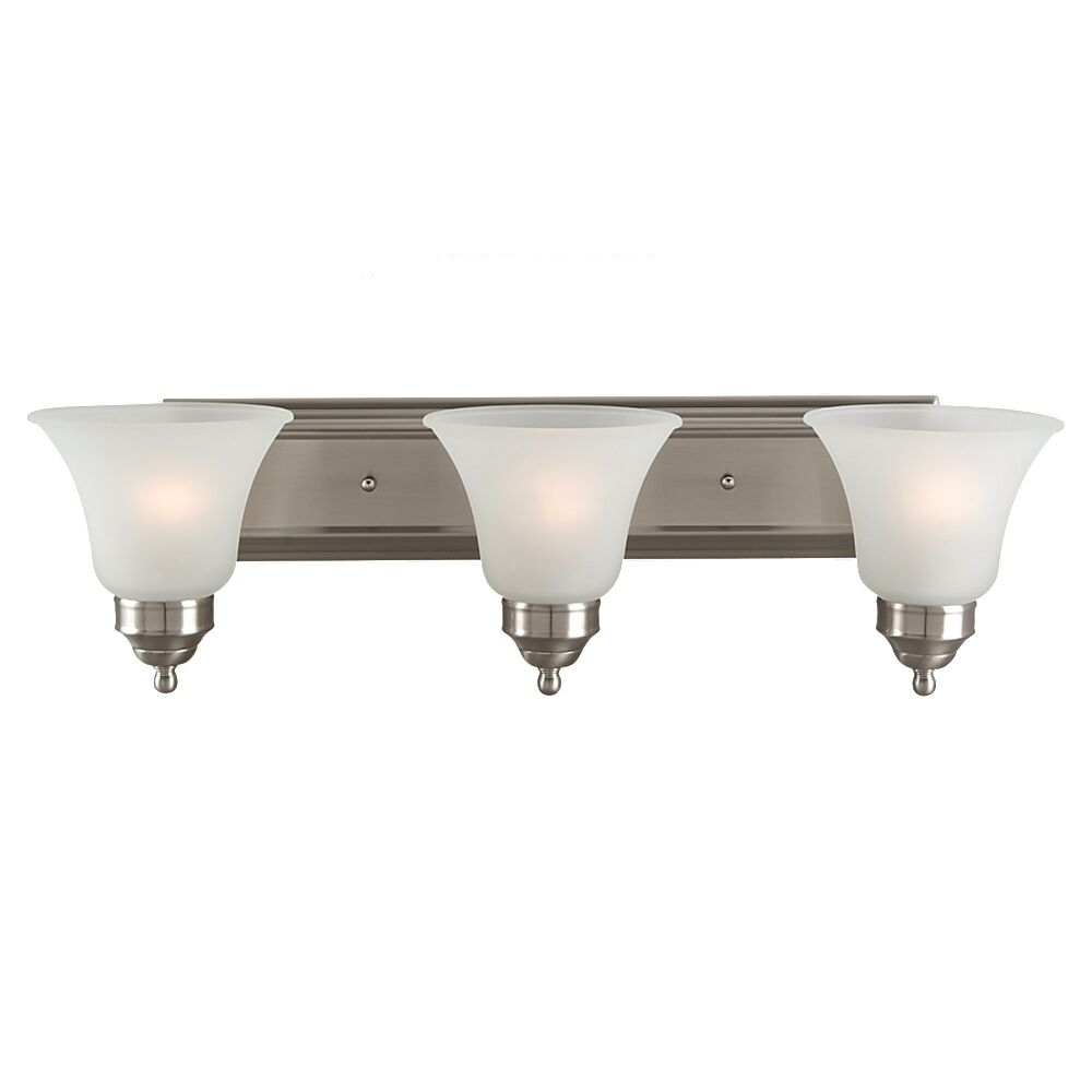 Sea gull lighting 44237 962 3 light brushed nickel for Bathroom 3 light fixtures