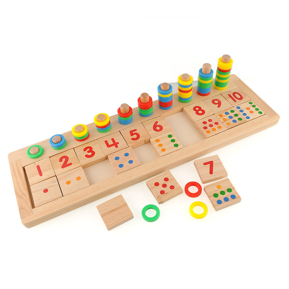 Pre School Toys : Colourful montessori teaching tool math number wood board