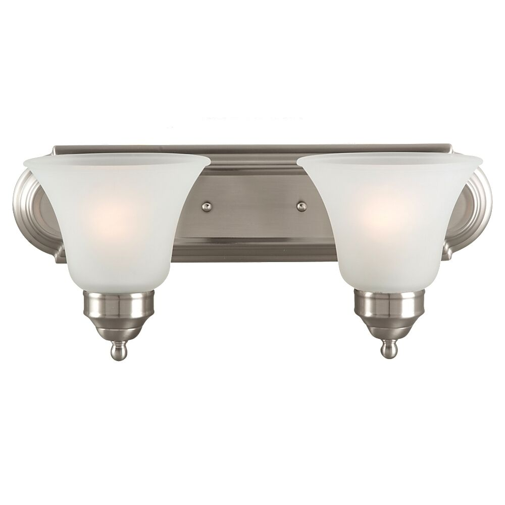 Sea gull lighting 44236 962 2 light brushed nickel bathroom vanity wall fixture ebay for Brushed nickel bathroom lighting fixtures