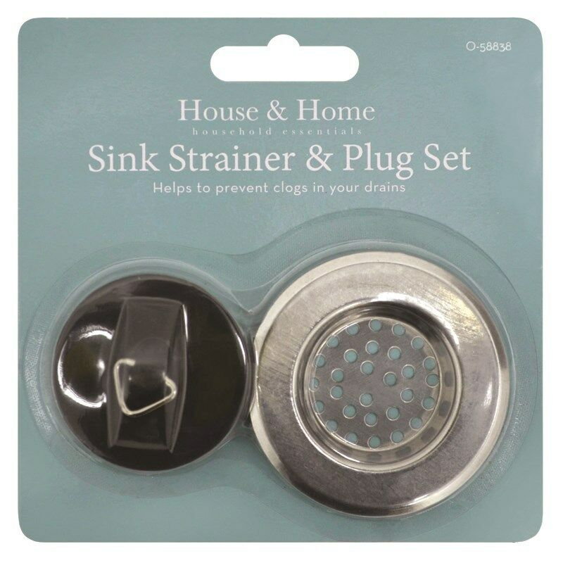 Sink Strainer Plug Set Kitchen Bathroom Stainless Steel