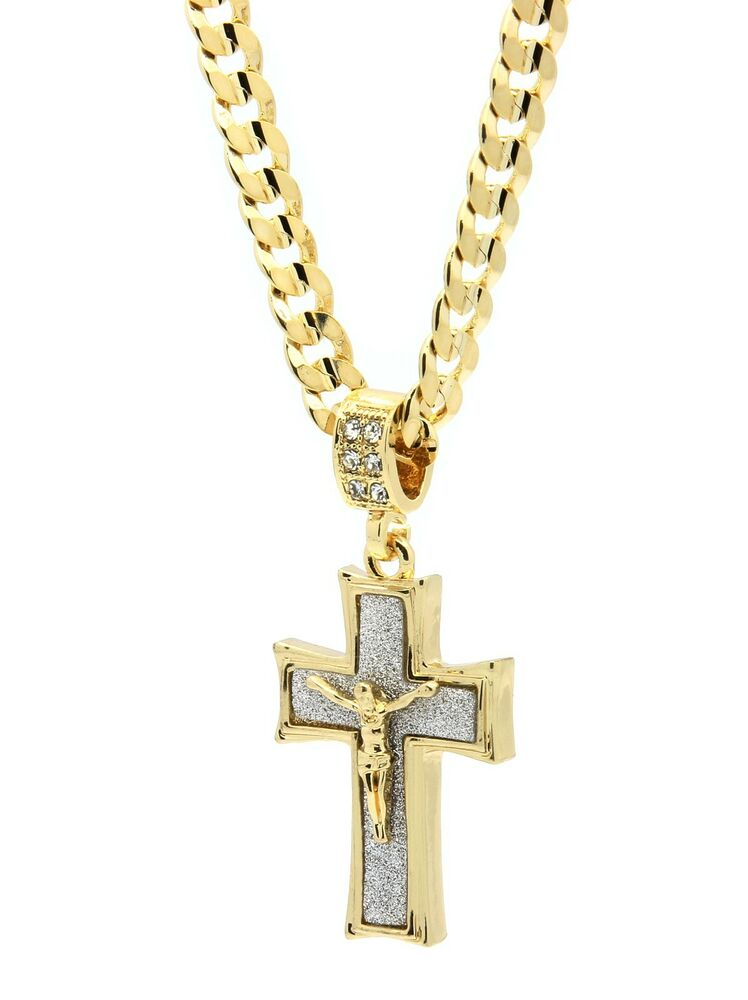 mens 14k gold plated stardust jesus curved cross pendant