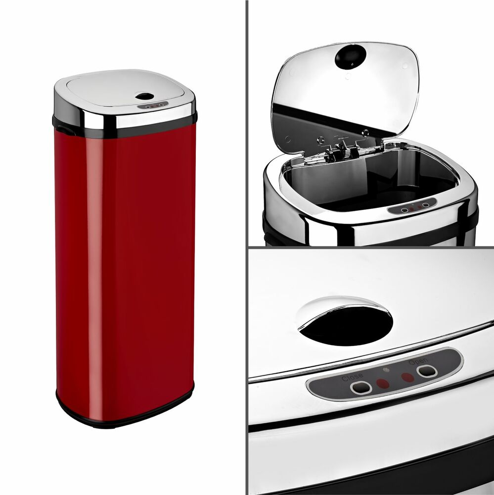 Kitchen Waste Bins: Dihl 30L 42L 50L Origin Rectangle Red Sensor Kitchen Waste