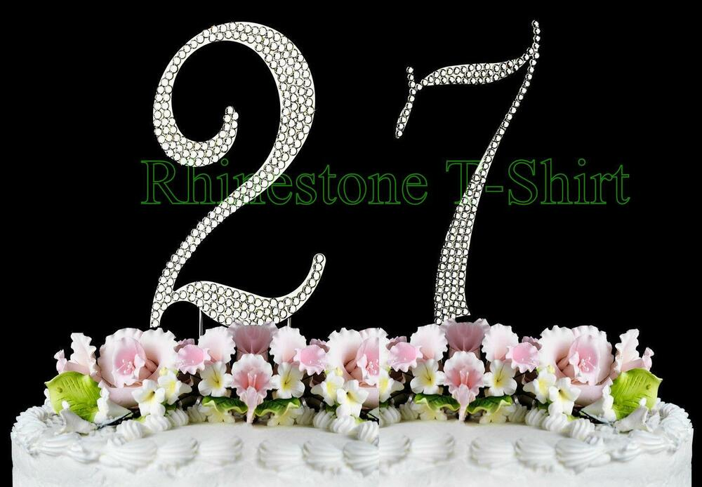 Wedding Gift 27 Years : Large Rhinestone NUMBER (27) Cake Topper 27th Birthday Wedding Party ...