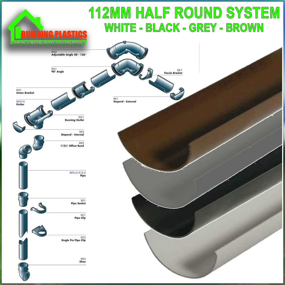 Plastic Round Gutter Guttering Down Pipe And Fittings