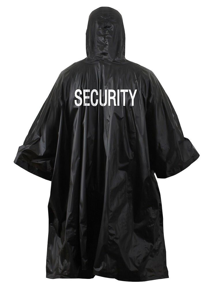 Black Security Rain Poncho Coat Vinyl Hooded Waterproof