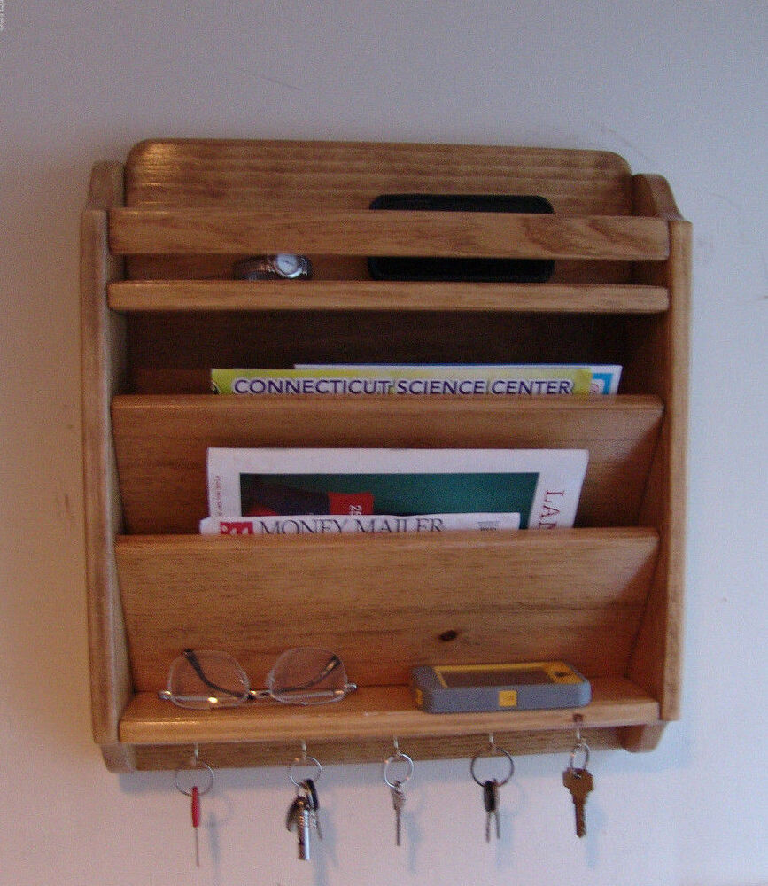 18 quot handcrafted mail organizer phone key rack holder wood wall caddy gold oak ebay