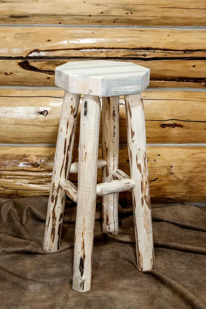 Rustic Log Bar Stool Without Back 30 Amish Made Bar