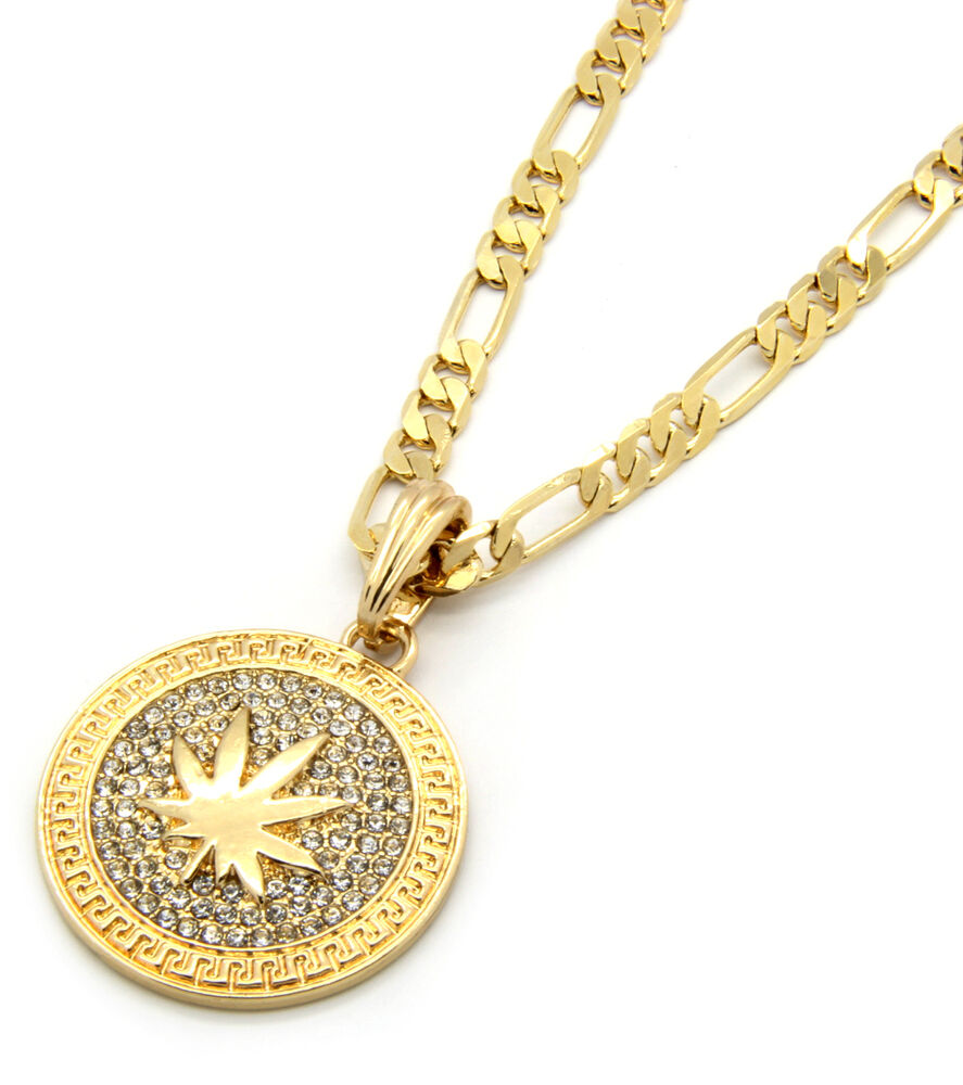 "Mens Medallion Marijuana Gold Clear 24"" Figaro Chain ..."