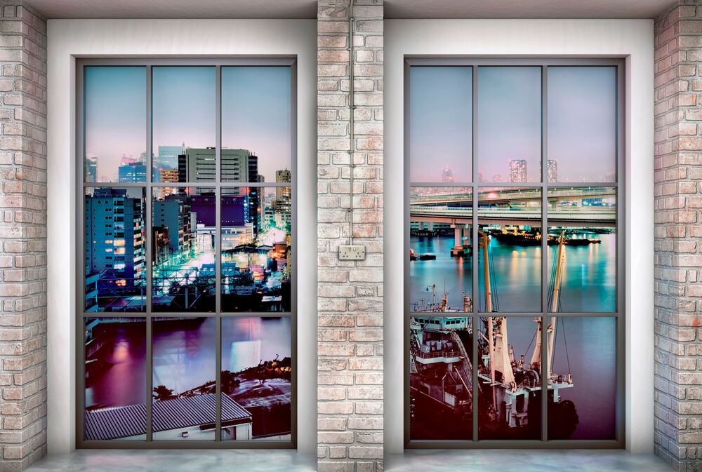 vlies fototapete xxl4 017 loft fenster city hafen urban fototapeten foto tapeten ebay. Black Bedroom Furniture Sets. Home Design Ideas
