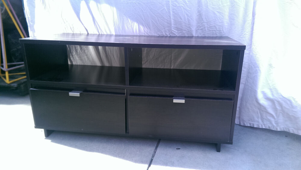 tv stand with two drawers ebay. Black Bedroom Furniture Sets. Home Design Ideas