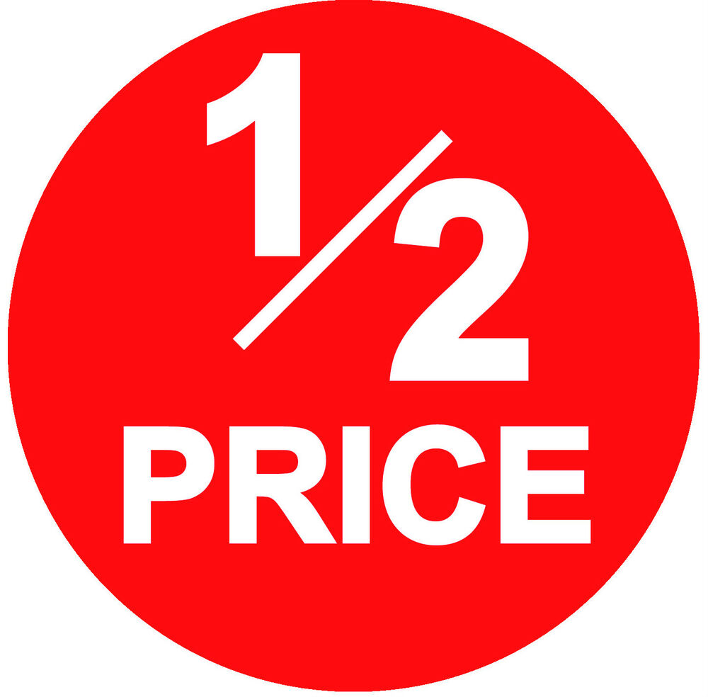 45mm bright red 1 2 half price point sale stickers. Black Bedroom Furniture Sets. Home Design Ideas