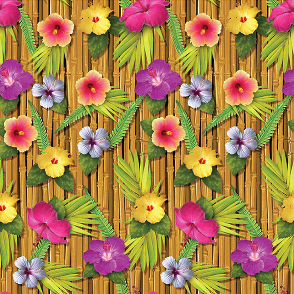 Tropical luau party scene setter room roll backdrop for How to make luau decorations at home